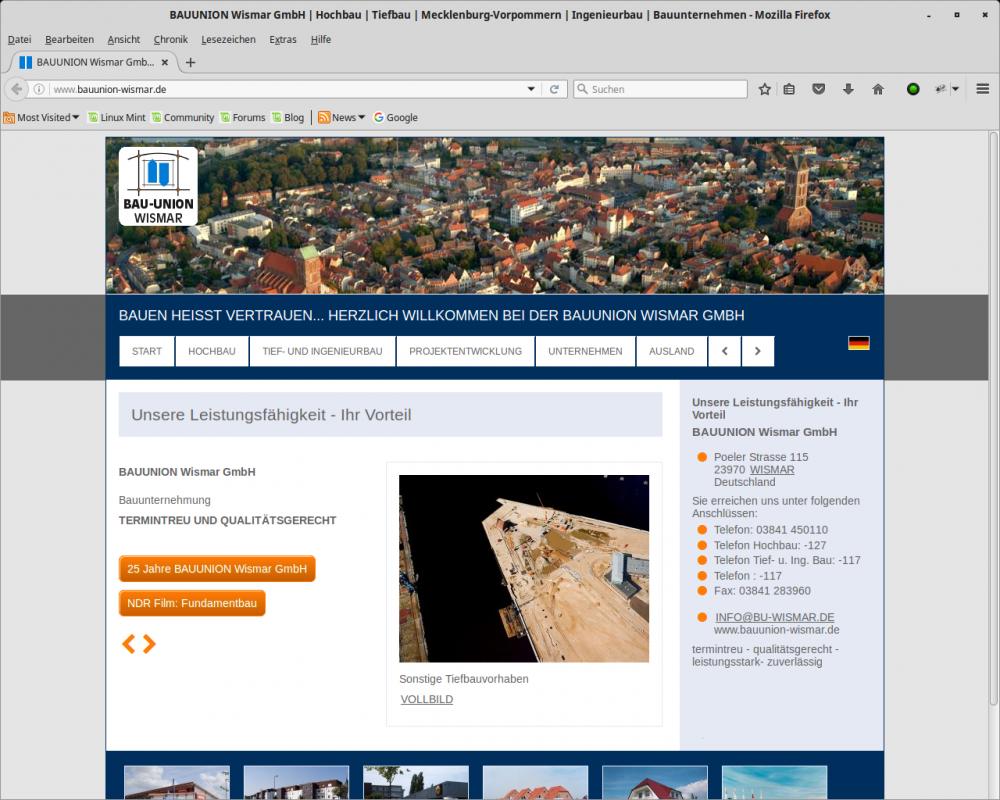 Bauunternehmen Wismar referenzen internetseite schwerin